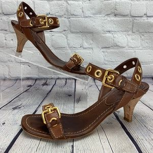 Original Car Shoe by Prada Brown Leather Sandals